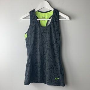 Nike Dri-fit grey and neon yellow tank top medium